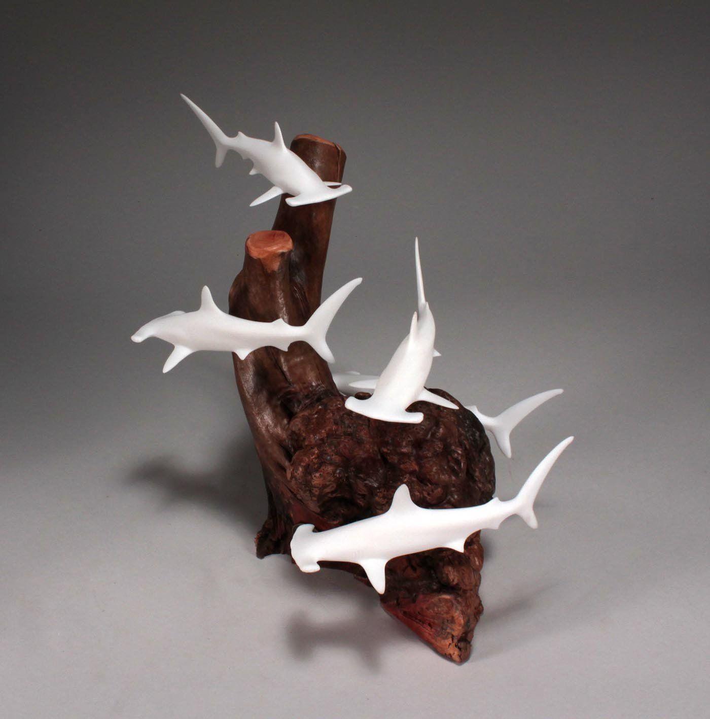 Hammerhead shark school sculpture new direct from john