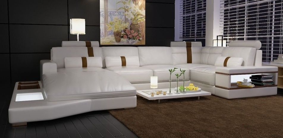 Massimo Modern White Leather Sectional Sofa | Leather sectional ...