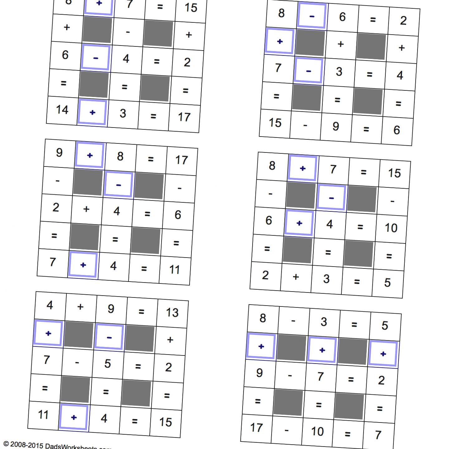 Math Worksheets Addition And Subtraction With Missing Operations Small Multiplication And Division Grid Puzzles Free Printable Math Worksheets [ 1440 x 1440 Pixel ]