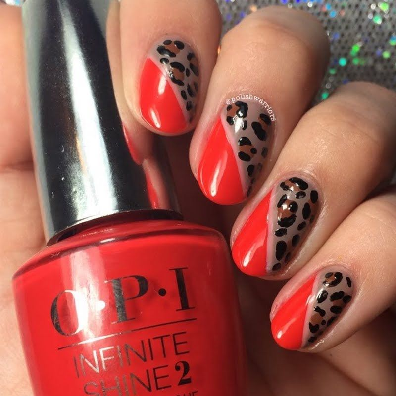 Cheetah prints are featured in this edgy nail art. Be sure to check ...
