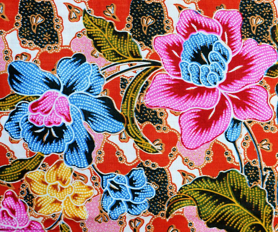 Colorful Batik Cloth Fabric Background By Prakasit