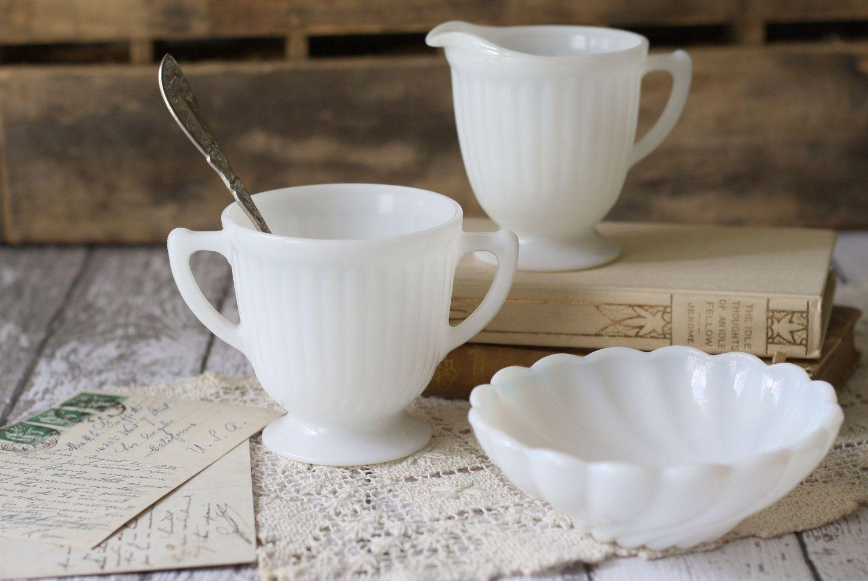 Vintage Milk Glass Creamer, Sugar and Bowl Set. Milk