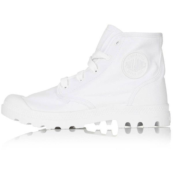 TopShop Palladium Pampa-Hi Boot ($71) ❤ liked on Polyvore featuring shoes, boots, white, white hi tops, white boots, topshop boots, topshop shoes and hi tops