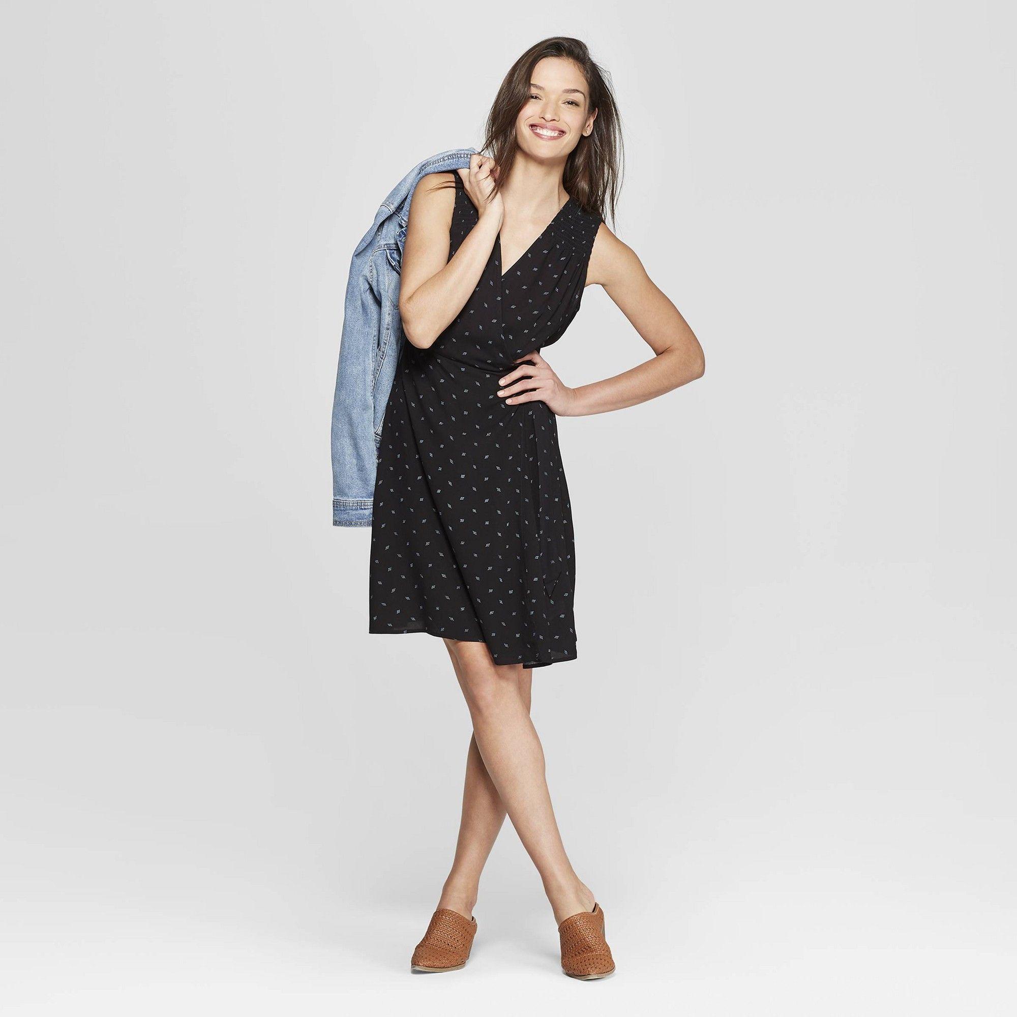 a65851f8d99 Women s Floral Print Sleeveless V-Neck Mini Print Dress - Universal Thread  Black Xxl