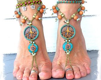Reserved for Kelly Yggdrasil TRISKELE BAREFOOT SANDALS Turquoise Stone artisan crochet foot jewelry Boho sandal Earthy Wedding Naturalist