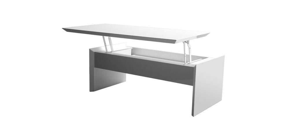 Mesa de centro lacada blanca con bandeja elevable LAETI
