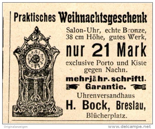 Original-Werbung/Inserat/ Anzeige 1902 - SALON-UHR / BOCK BRESLAU ca. 45 x 30 mm