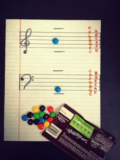 Game to help my kids practice reading music: name the note or play it and you get to eat it!