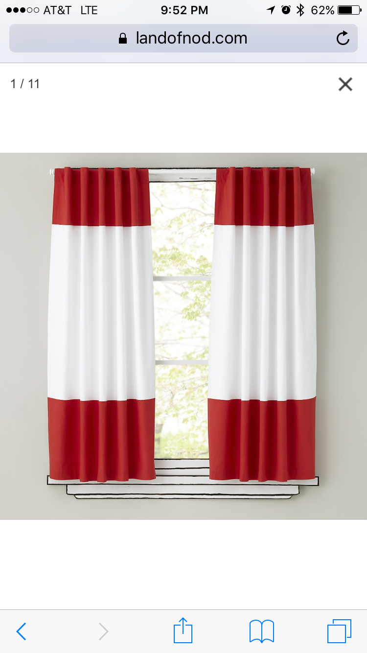 Land Of Nod Red White Curtain Kids Curtains Red And White