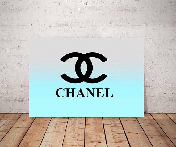 Chanel Logo Art Print Or Canvas Blue Chanel Wall Decor Coco Chanel Picture Chanel Pop Art Aqua Light Blue Multi C Logo Wall Gallery Wrap Canvas Art Logo
