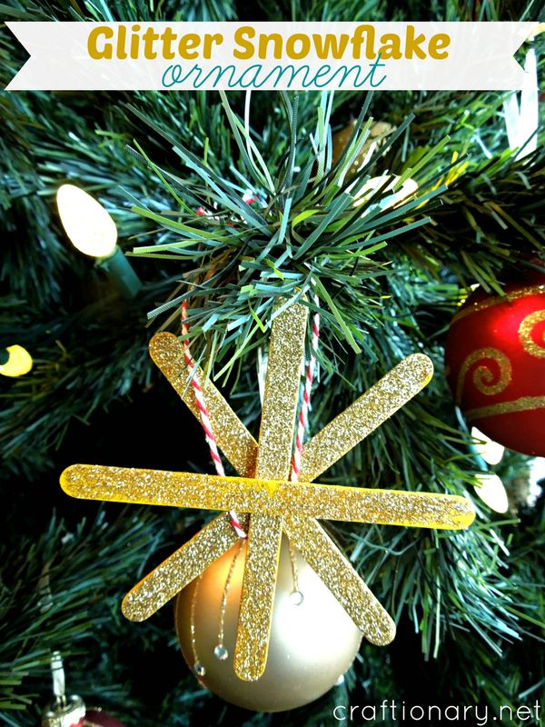 DIY Glitter Snowflakes Ornaments Tutorial is part of Diy christmas ornaments, Ornaments diy, Snowflake ornaments, Christmas ornaments, Christmas diy, Glitter diy - Make DIY glitter snowflakes  An easy tutorial to make snowflake ornaments for Christmas tree with kids this Holiday season  All you need popsicles, glitter