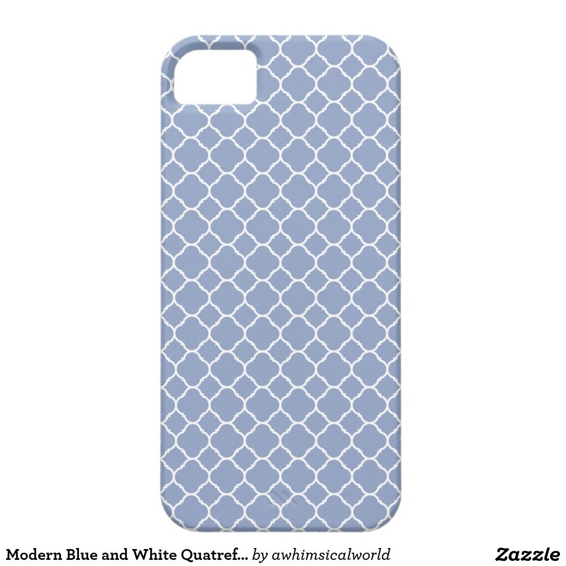 Modern Blue and White Quatrefoil Lattice Pattern iPhone Cover