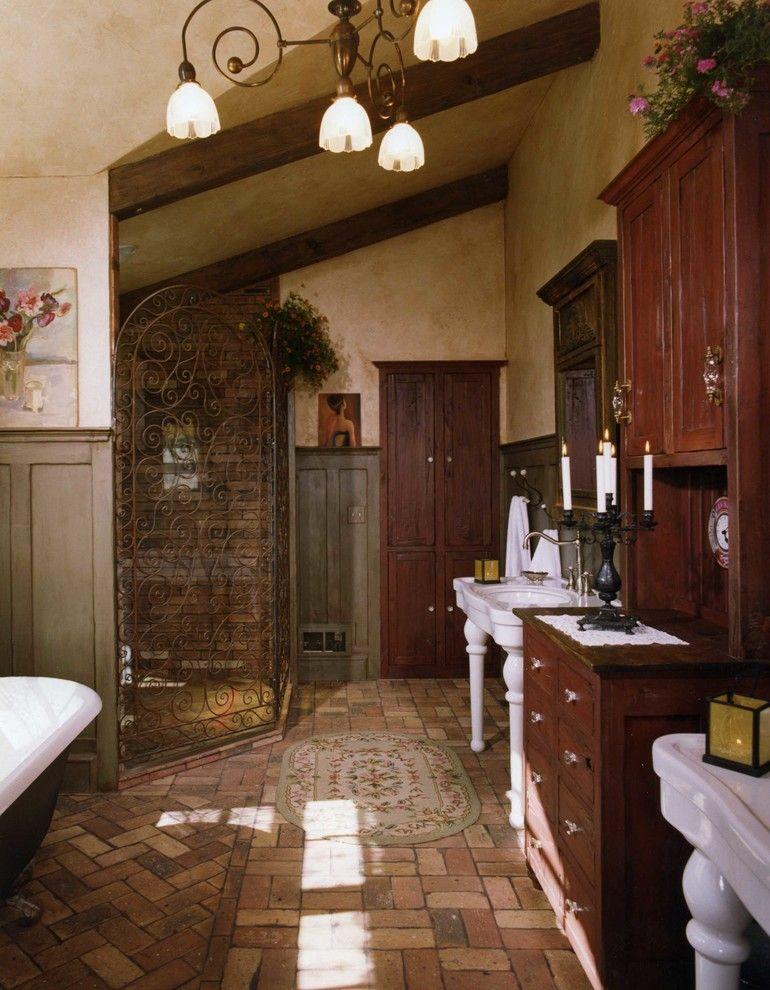 Alumax Shower Doors Bathroom Rustic With Antique Basketweave Brick Floor Candelabra