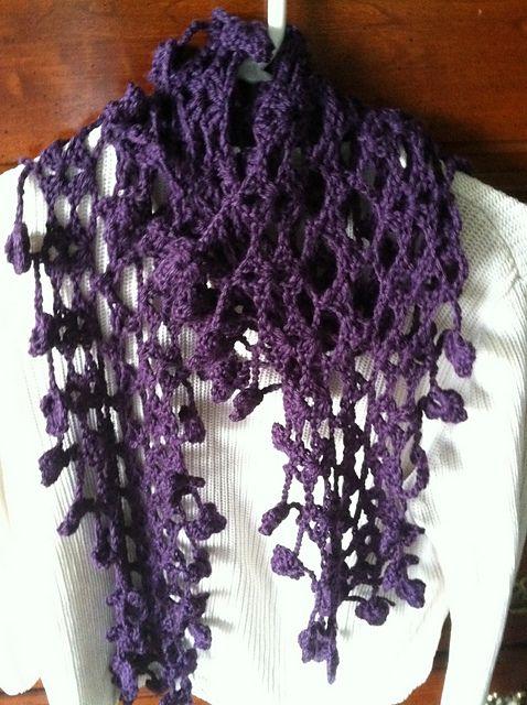 knitgrl s plum flowers scarf free crochet
