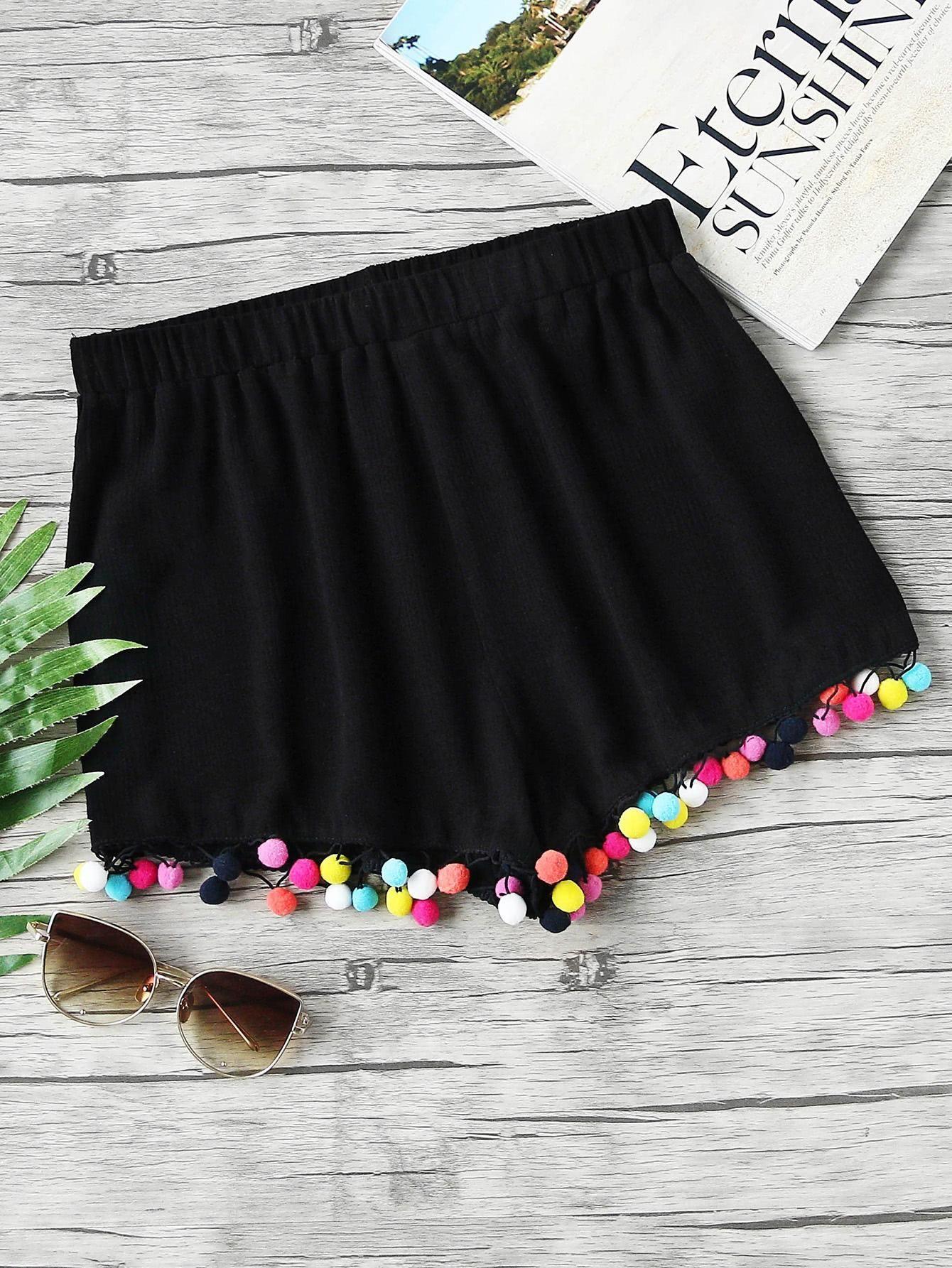 MakeMeChic - MAKEMECHIC Colorful Pom Pom Trim Elastic Waist Shorts - AdoreWe.com