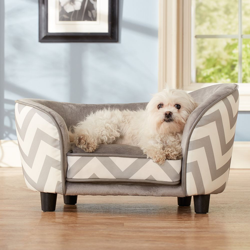 This Trendy Sofa Bed Features A Chevron Print And Sturdy Wooden Legs To Keep Your Dog Relaxed