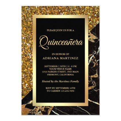 Faux Gold Glitter Black Gold Marble Quinceanera Invitation | Zazzle.com