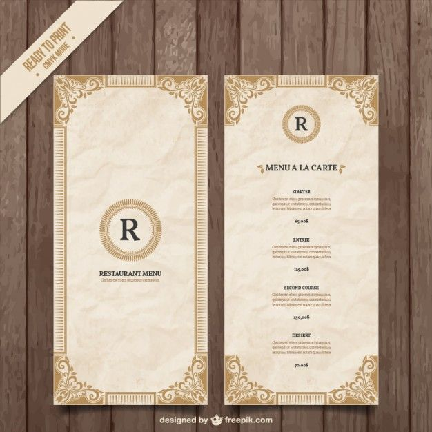 Ornamental menu template Free Vector http\/\/wwwfreepik\/free - dinner menu templates free