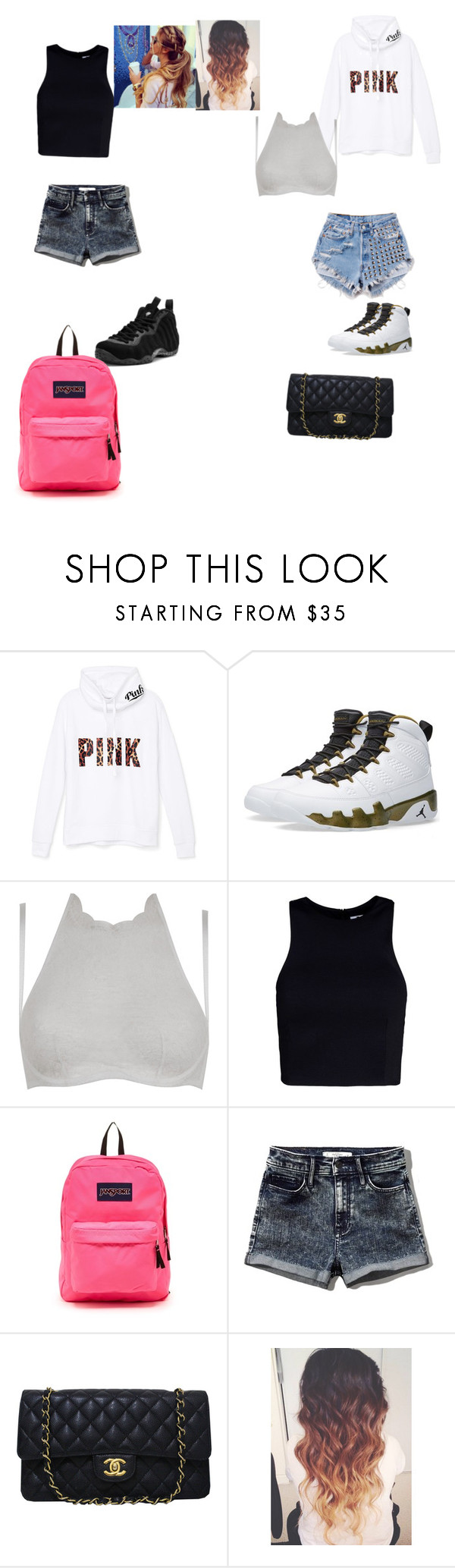 """""""Boring outfit"""" by yahiness ❤ liked on Polyvore featuring Victoria's Secret PINK, NIKE, Runwaydreamz, Agent Provocateur, T By Alexander Wang, JanSport, Abercrombie & Fitch and Chanel"""