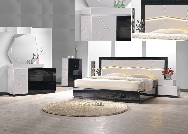 Best Master Berlin 4 Pc Berlin Black And White Lacquer Finish Wood Modern Style Queen Bed Set Bedroom Furniture