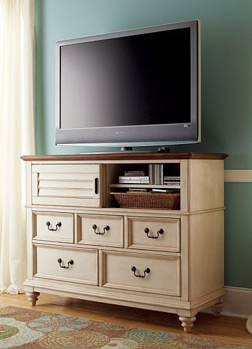 Entertainment Media Southport Chest Distressed White Havertys Furniture