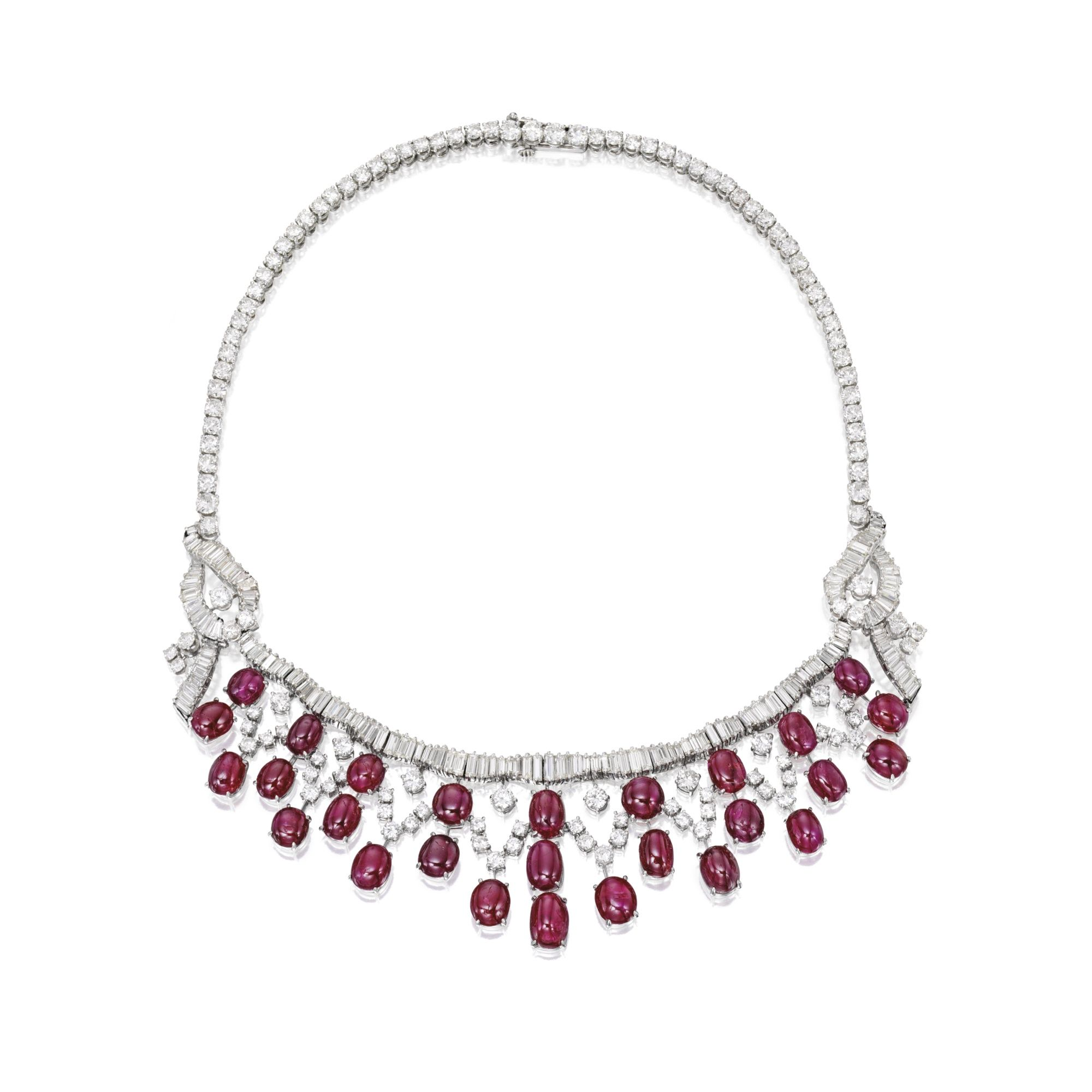 Platinum, Ruby and Diamond Necklace | Lot | Sotheby's