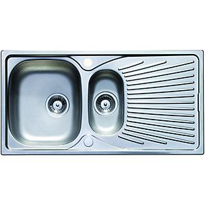 wickes 1 1 2 bowl luxe reversible kitchen sink pack stainless steel wickes 1 1 2 bowl luxe reversible kitchen sink pack stainless      rh   pinterest com