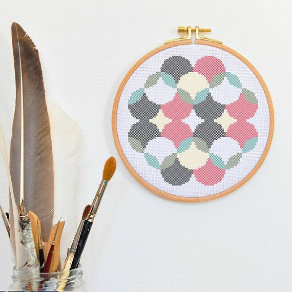 Retro Cross Stitch Pattern Modern Hand Embroidery Pattern Spherical
