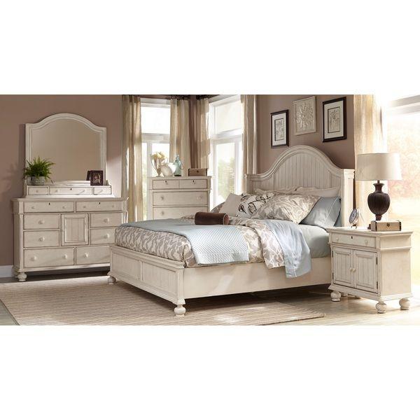 Laguna Antique White Panel Bed 6-piece Bedroom Set - Overstock