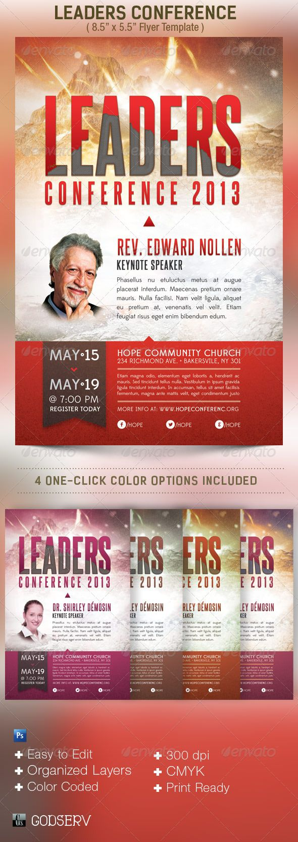 Leadership Conference Church Flyer Template  Flyer Template