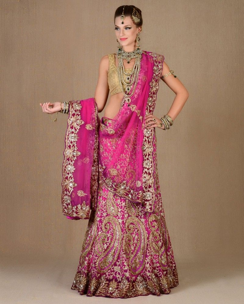 Exclusively.In Rani Pink Heavily Embellished Lengha Set | The Desi ...