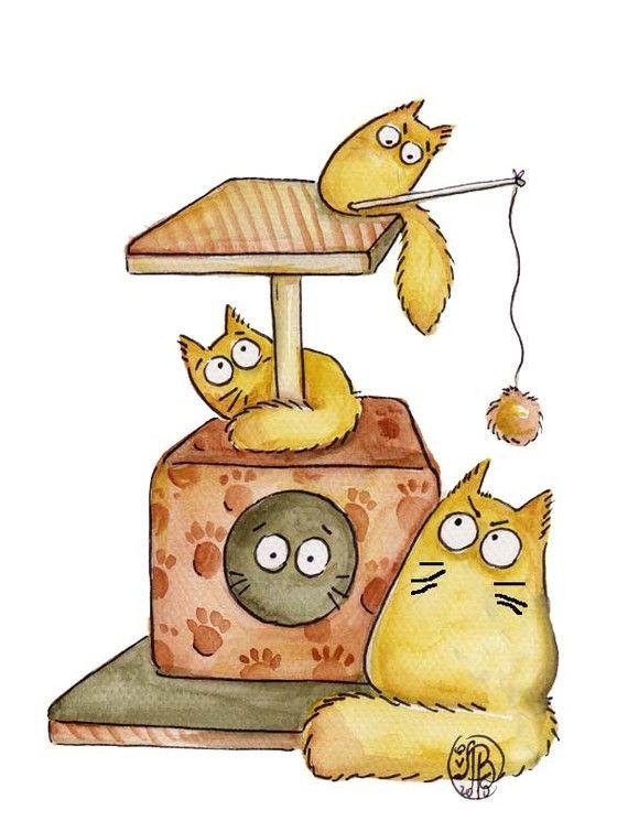 Картинки мультяшные и смешные коты, открытки смешные гифки