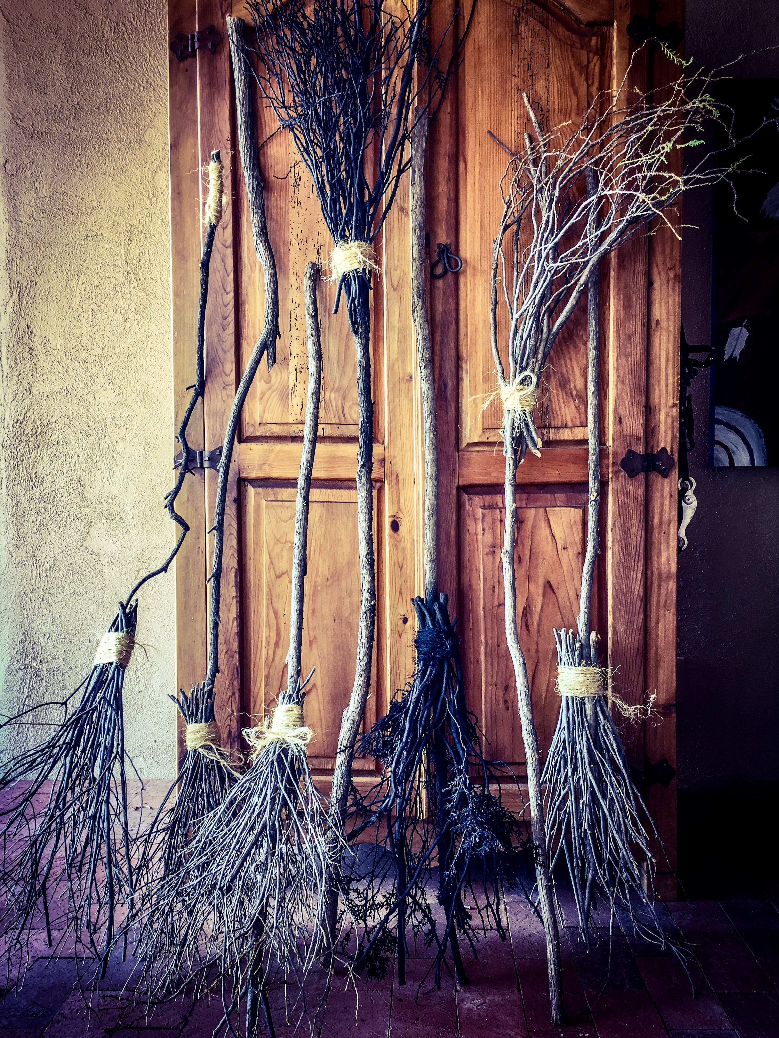 Handmade Witches Brooms From Evergreen And Texas Sage Trimmings Add Some Duct Tape And Cover With Ju Community Halloween Party Halloween Decorations Halloween