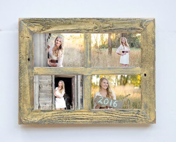2 4 Hole 8x10 Barn Window Collage Picture Frame Yellow Gray