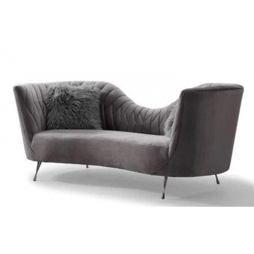 Dark Grey Velvet Sofa: Dark Grey Velvet Salon Low Back Sofa
