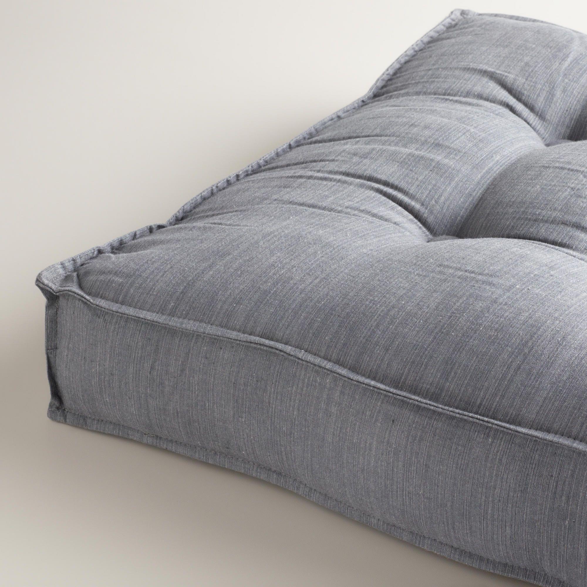 Gray Khadi Tufted Floor Cushion | Gray, Meditation rooms and ...