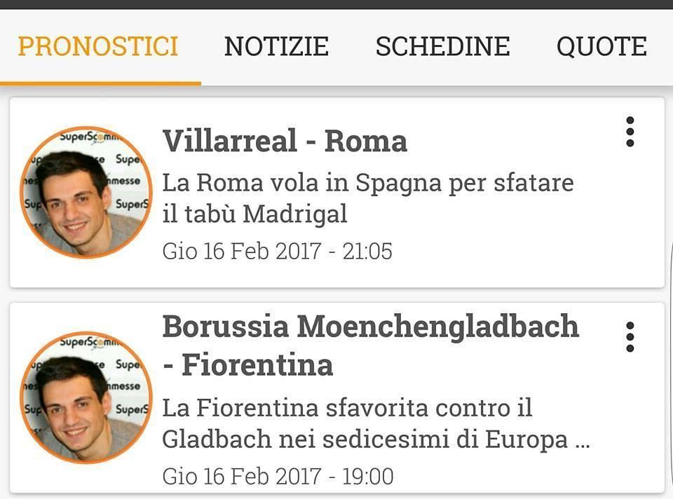 Pronostici #VillarealRoma e #BorussiaFiorentina li consulti sulle nostre app: Android: http://bit.ly/2fZpl9U  iOS: http://bit.ly/2kRZK5R