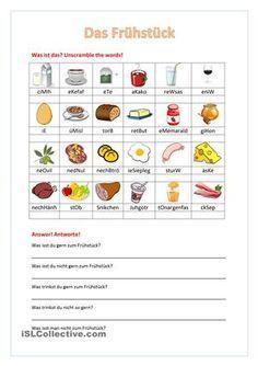 Die Schüler wiederholen den Wortschatz zum Thema Frühstück,indem sie ...