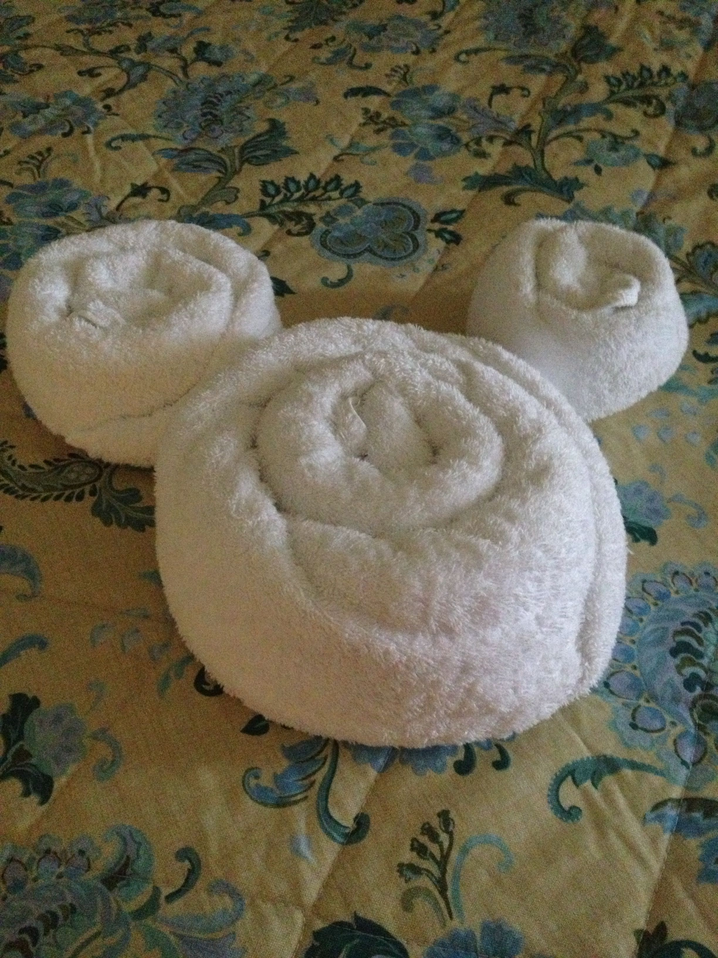 Disney Folded Towel Shaped As Mickey Mouse Cute Disney