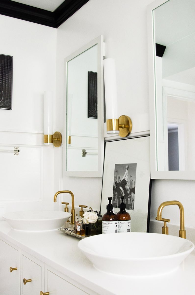 An Interior Stylists Glam Midwest Remodel Interiors Bath And House - Gold brass bathroom fixtures