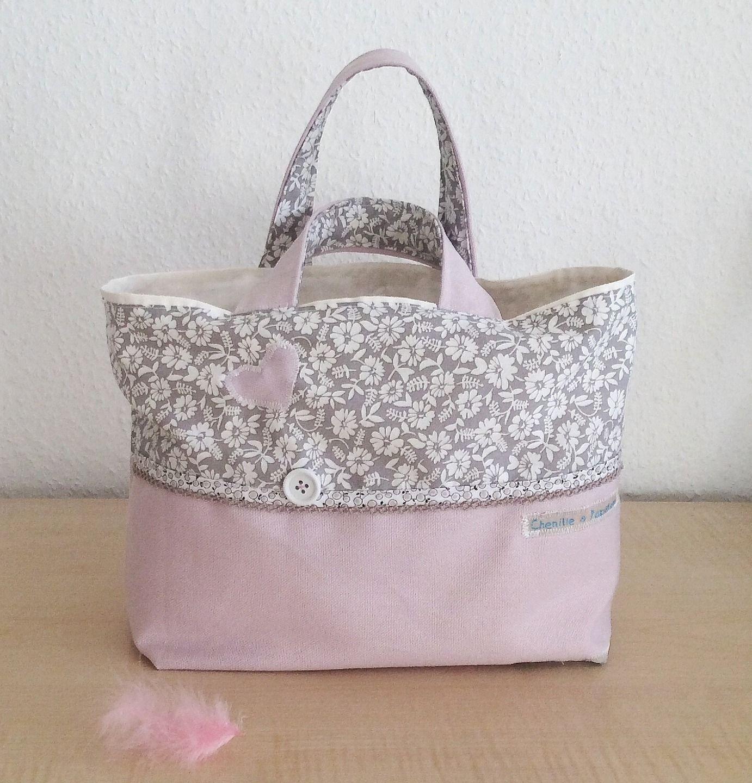d67b490505 Sac petite fille style cabas - Sac cabas fille - Sac en coton motifs fleurs  rose