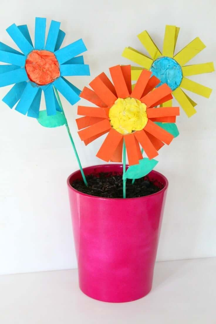 Paper flowers for kids easy craft with toilet paper rolls crafts paper flower kids craft wanna help your kids develop their artistic and motor skills mightylinksfo