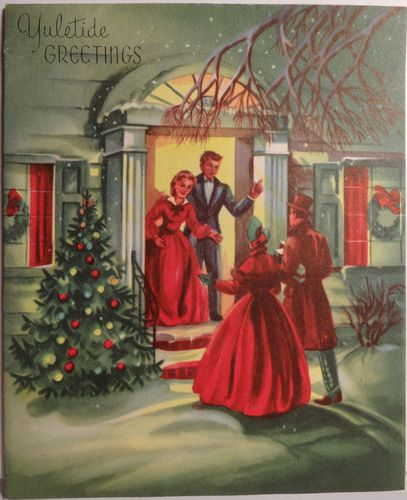 """Yuletide Greetings"" 1940s Christmas card showing guests arriving for a visit."