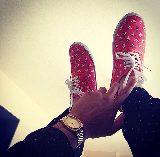 red vans with surfer hands