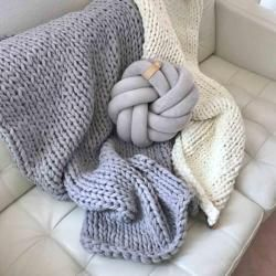 Photo of Chunky Knit Kuscheldecke Juna, vegan scandi grau 100x150cm