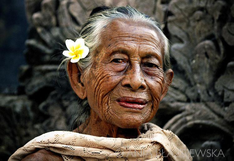 Beautiful Elderly People Indonesia Bali Portrait Of A