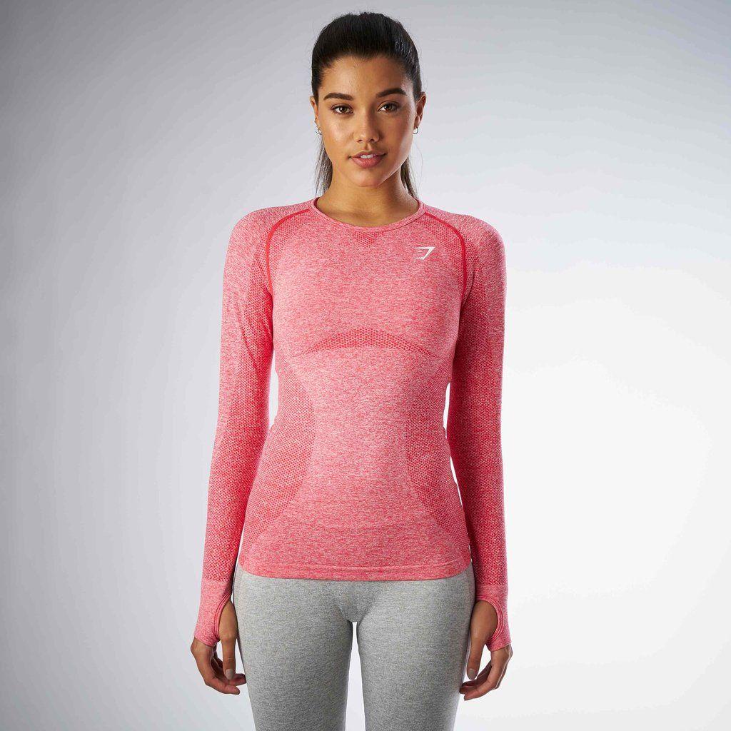 bdde4d67522e Gymshark Seamless Long Sleeve Top - Sherbet Pink Marl at Gymshark UK ...