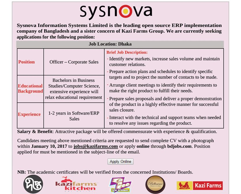 Sysnova Information Systems Limited  Officer Corporate Sales