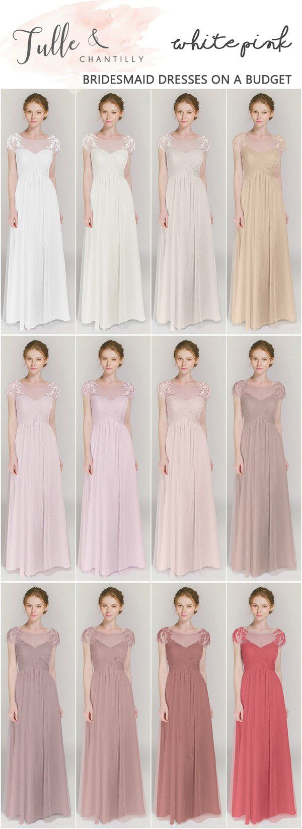 shades of pink affordable bridesmaid dresses TBQP364