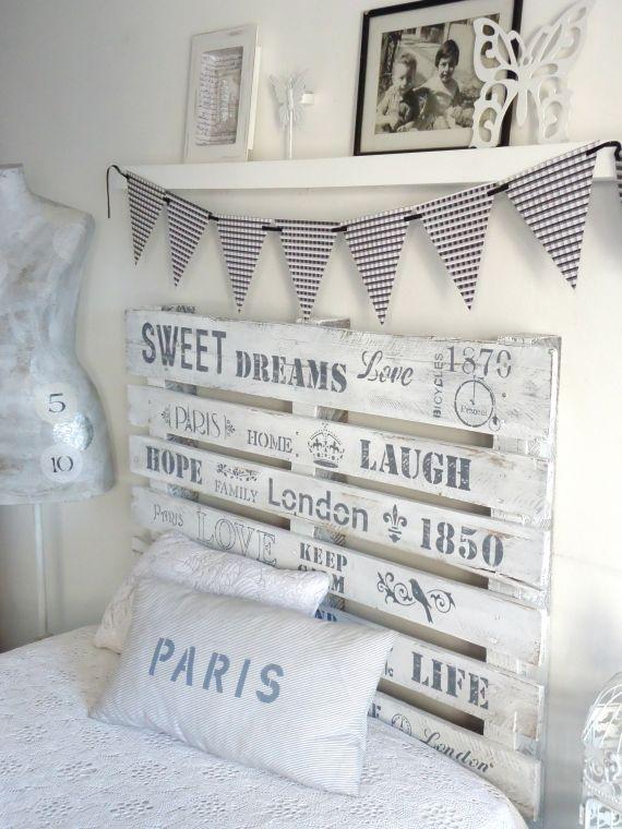 Respaldo para sommiers de 1 1 2 plaza pintado en blanco - Cuadros como cabeceros de cama ...